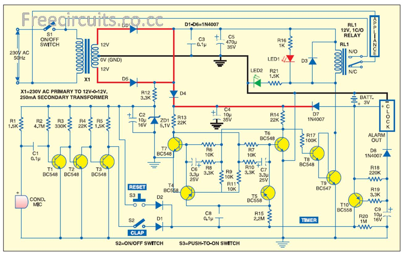Freecircuits Opening Electroics To The World Page - Clap sensitive on off relay