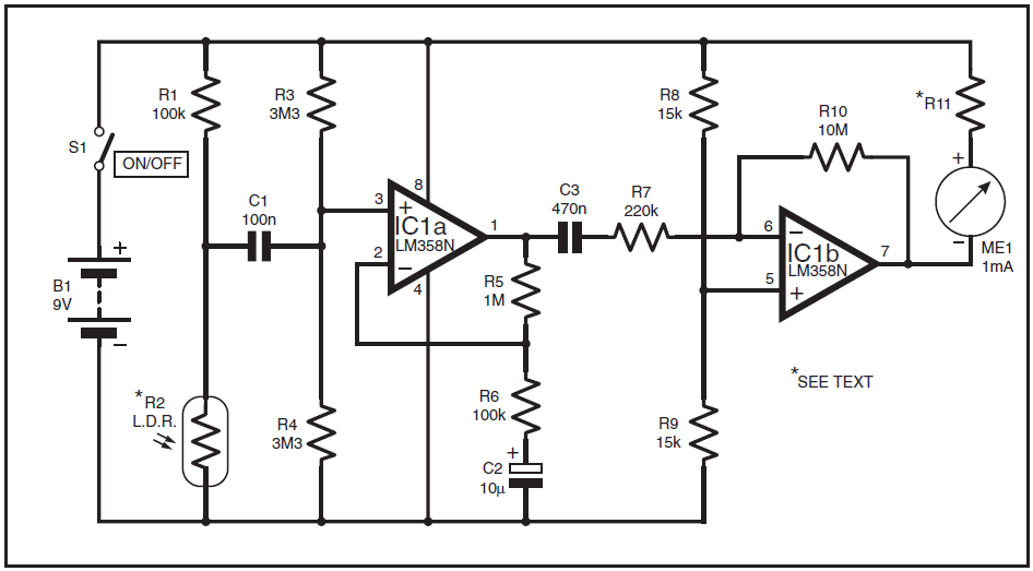 heart rate monitor  freecircuits, circuit diagram